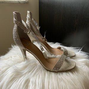 Rhinestone Studded silver high heels